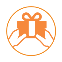 A circular icon with a white background, an orange border, and two hands holding a gift.