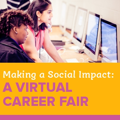 """A square image with a teacher helping a student at the computer, with text on the bottom reading """"Virtual Career Fair."""""""