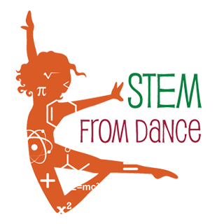 Orange silhouette of a female dancer jumping in the air, STEM from Dance is written next to her in green and pink.