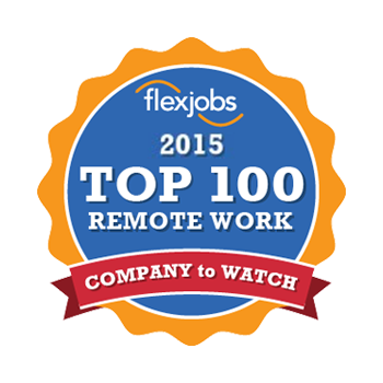 "Yellow, red, and blue company logo that reads ""Flexjobs"" at the top of a blue circle, then ""2015 Top 100 Remote Work"" underneath; ""Company to Watch"" is written in a red banner at the bottom."