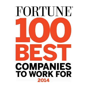 "Logo that reads ""Fortune"" in black font on the first line, ""100 Best"" in red text on the second and third line, and ""companies to work for"" in black under that; 2014 is written in small red font at the bottom."
