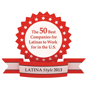 "Red and white logo that reads: ""The 50 Best Companies for Latinas to Work for in the U.S."" in a circle; ""Latina Style 2013"" is written in a red banner underneath."