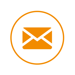 Orange and white icon of a circle containing an envelope.