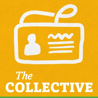 "Yellow square icon that has an outline of a name badge in it and reads ""The Collective"" in white at the bottom."