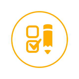 Yellow circle icon with a yellow pencil and two check boxes to the right.