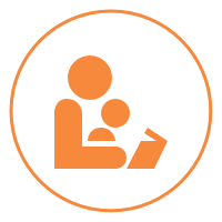 A yellow and white icon of an adult reading to a child on their lap.