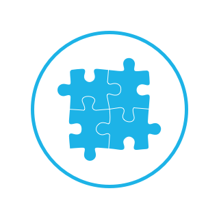 Bright blue circle icon with four interlocking puzzle pieces inside