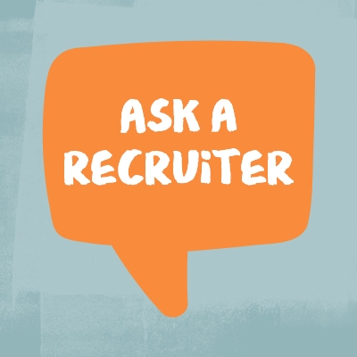 """Illustration of an orange chat bubble with text inside reading """"Ask a recruiter"""""""