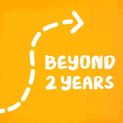 """Illustation of a dashed-line arrow on a yellow background with text """"Beyond 2 Years"""""""