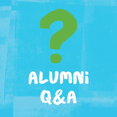 """illustration of a green question mark on a light blue background with text """"alumni Q&A"""""""
