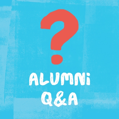 """illustration of a red question mark on a light blue background with text """"alumni Q&A"""""""