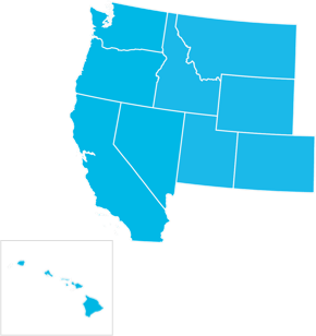 Bright blue cut out of a map, showing only the West coast states of the US, including Hawai'i next to California