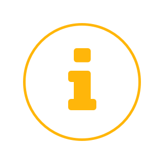 """Icon of a yellow lowercase letter, """"i."""""""