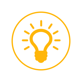 A yellow lightbulb icon.