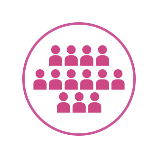 A pink icon with several silhouettes representing a large network of alumni.