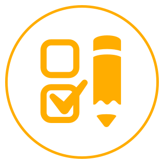 Circle icon with a pencil and check marks