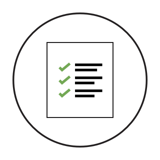 An icon of check marks on a page symbolizing a list of requirements.