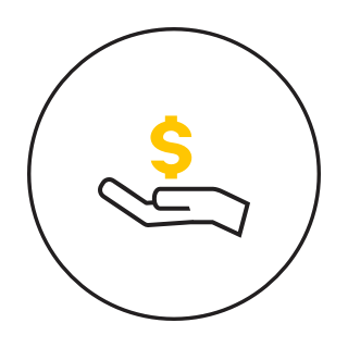 an icon of a hand holding a dollar sign