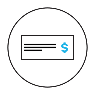 icon of a check with a dollar sign