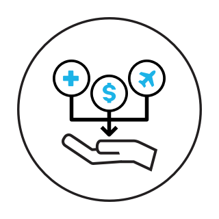 icon showing a hand with dollar sign and benefits symbol in it