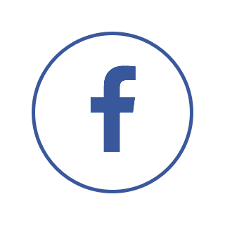 A circular logo with a blue border and the Facebook logo.