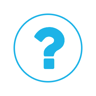 A circular logo with a blue border and a question mark.