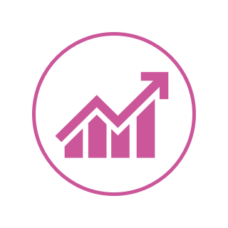 A circular logo with a white background, a pink border, and a line graph