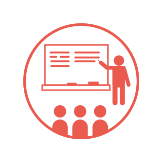 Red circle icon, showing a stick figure person pointing to a chalkboard and three stick figure students sitting in the foreground.