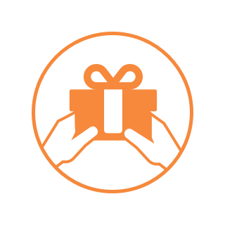 Orange circle icon featuring two hands holding a wrapped gift.