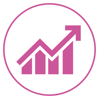 Purple circle icon, showing a bar chart with an upward pointing arrow at the top.