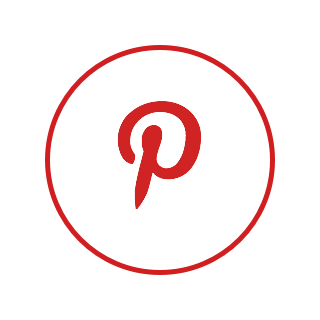A circular logo with a white background, a red border, and the Pinterest logo