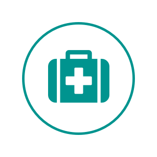 A circular logo with a white background, a green border, and a first aid kit.