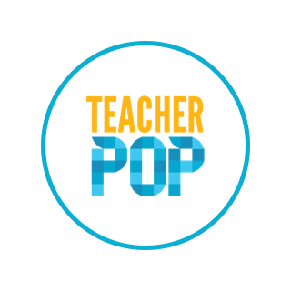 "A circular logo with a white background, a blue border, and text reading ""Teacher Pop."""