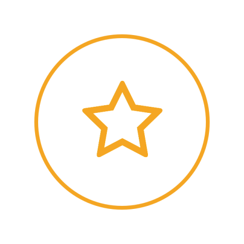 A circular logo with a white background, a yellow border, and a yellow star.