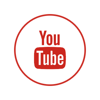 A circular logo with a white background, a red border, and the YouTube logo.