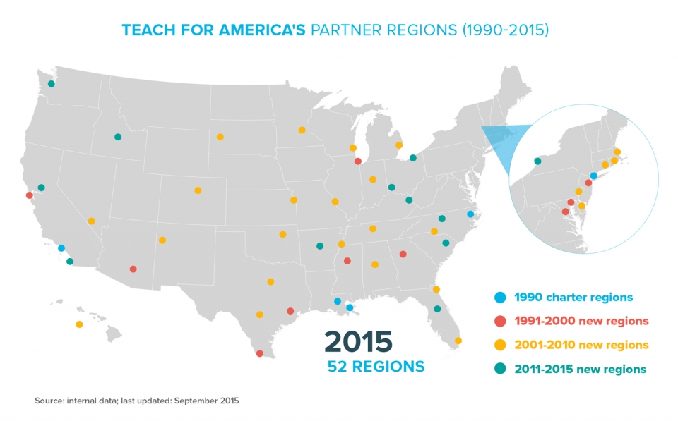 An inforgraphic showing TFA partner regions across America