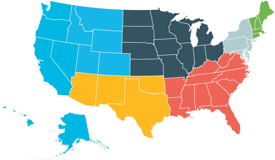 Map of the United States, divided into seven different sections by color; western states in bright blue, midwestern states in navy, northeastern states in light blue, New England states in green, southeastern states in red, and southwestern states in orange.