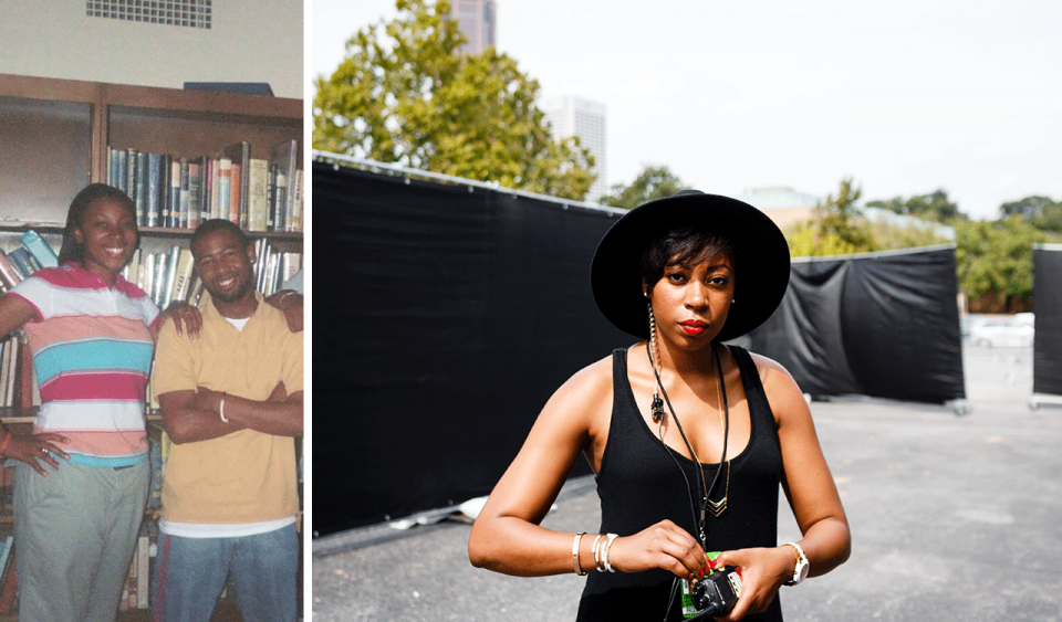 Two photos side-by-side; on the left, an older photo of a tall teenage girl in a bright stripped shirt resting her arm on the shoulder of a young adult male in a yellow polo shirt; on the right, a young adult female in a large black hat and black tank top standing outside, she has a serious look and a walkie talkie in her hand.