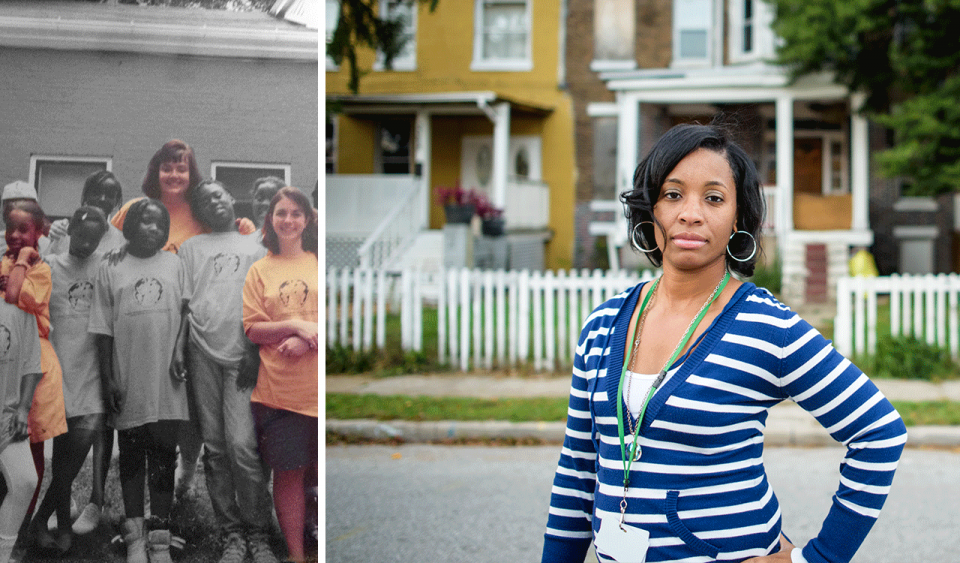 Two photos side-by-side; on the left, an older photo of a group of young students standing in a group with two young adult teachers; on the right, a middle-aged female in a striped sweater and key lanyard stands in the middle of a street with two brick row homes behind white picket fences behind her.