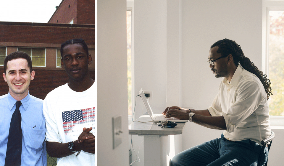 Two photos side-by-side; on the left, a high school student in a t-shirt stands next to a teacher in a collared shirt and tie; on the right, a young adult man sits behind a laptop in a brightly lit room, he wears a collared shirt and glasses and he has long dreadlocks tied in a ponytail.