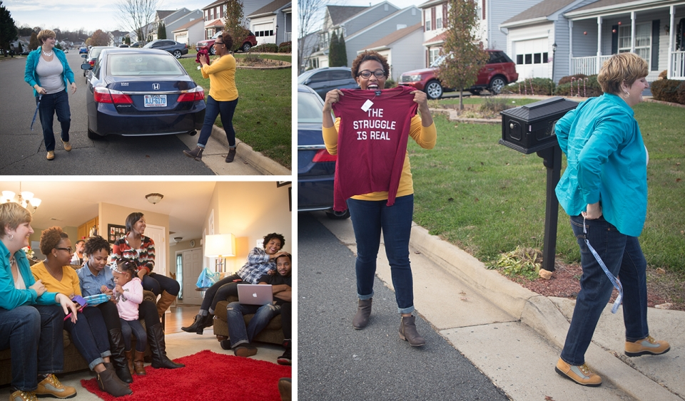 "Collage of three images: two people stand behind a car; the same two people walk into a house, one holds a t-shirt that reads ""The Struggle is Real"";  the same two people are joined by six other people, young and old, sitting on two couches in a living room."
