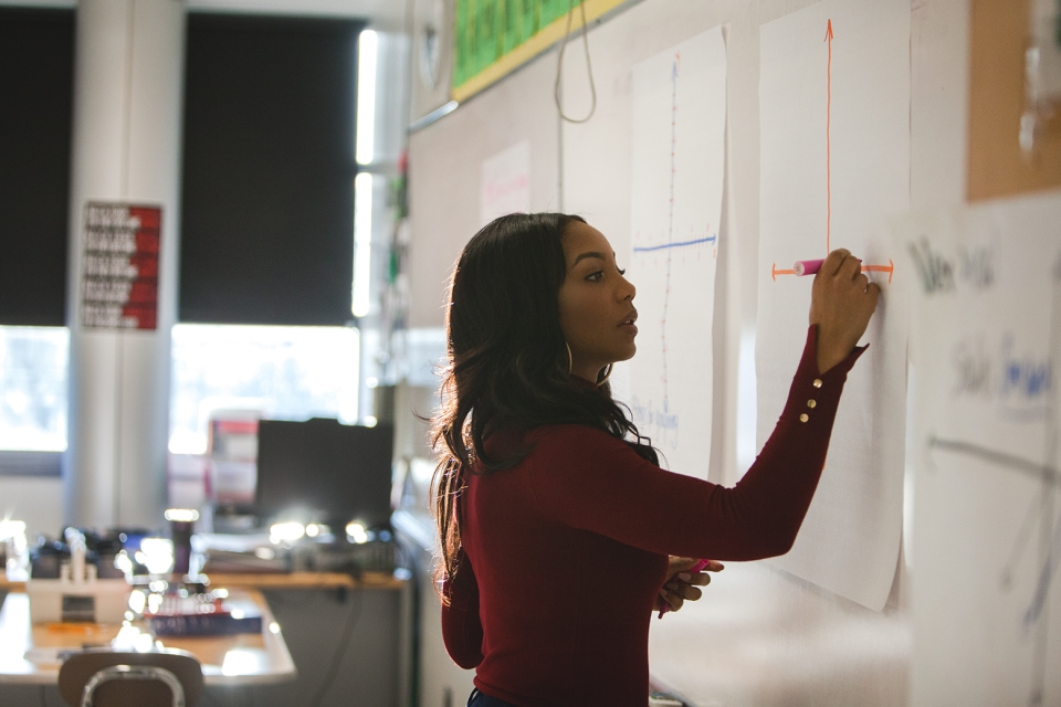 A young adult female in a maroon sweater draws a chart on a piece of poster paper taped to a white board in a classroom.
