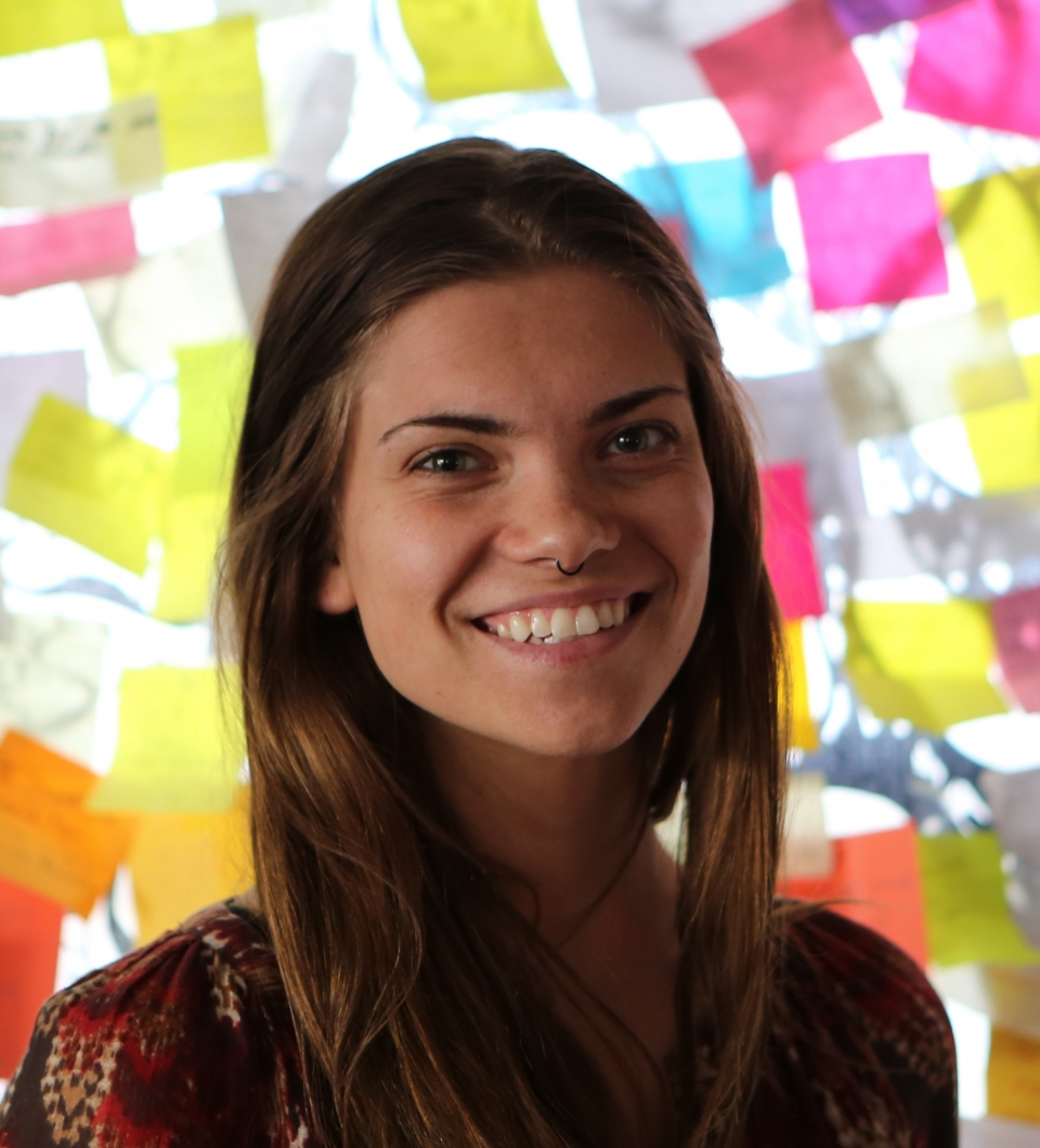 Head shot of a woman in her twenties, smiling, with long light brown hair, wearing a red patterned shirt and a nose piercing, in front of a bright, colorful window.
