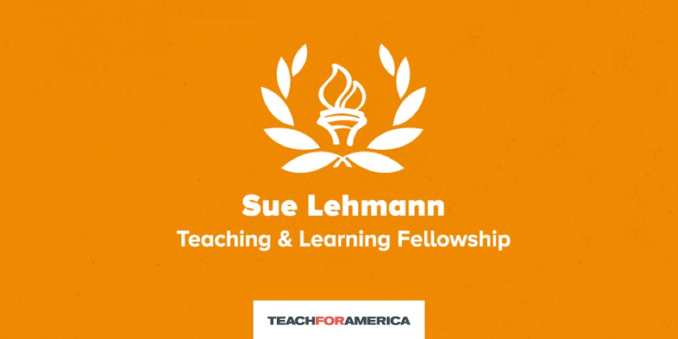 "An orange rectangle with white text reading ""Sue Lehmann Teaching and Learning Fellows."""