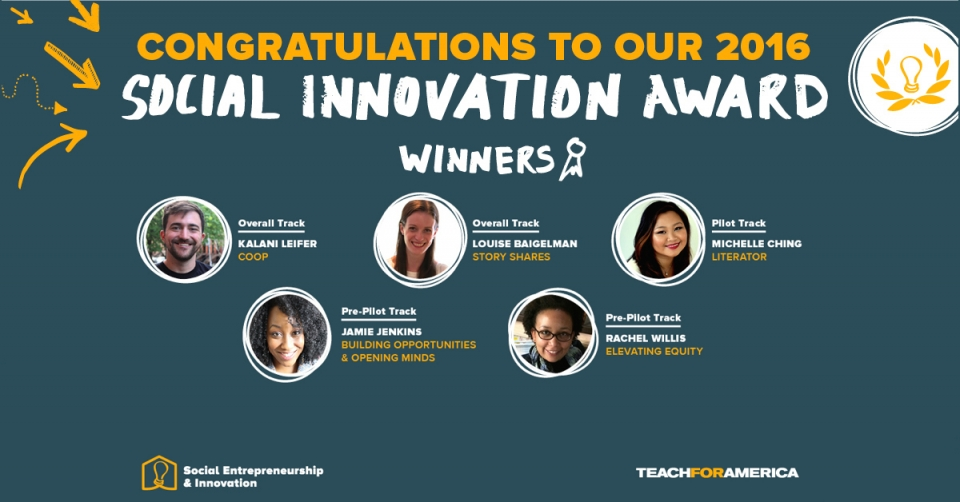 A blue rectangular banner congratulating the winners of the 2016 Social Innovation Award, and five head shots of the winners.