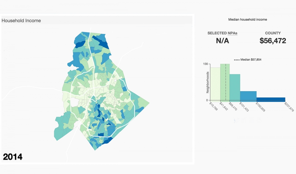 A map of household income in Charlotte