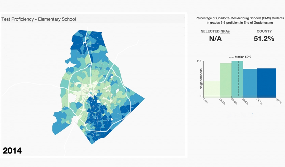 A map of elementary test proficiency in Charlotte