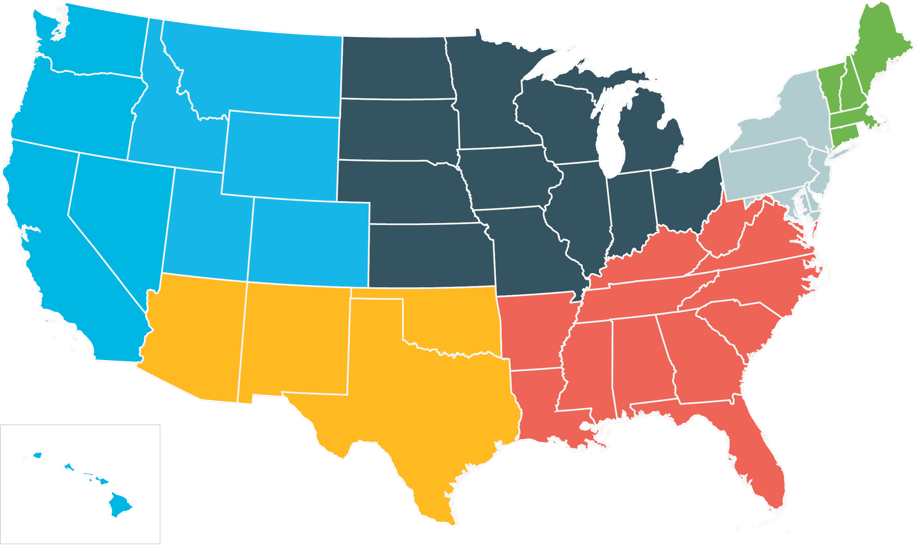 Map of the US, with 6 different regions each shaded a different color (West, Southwest, Midwest, East, Southeast, and New England)