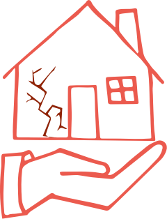 Illustration of a hand and house