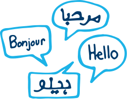 Speech bubbles with hello